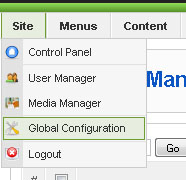 site global configuration joomla