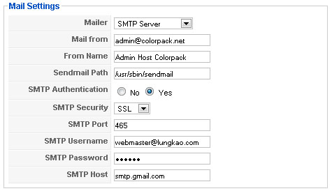 gmail smtp config for joomla